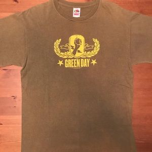 Green Day 2005 Tour concert army green T-shirt